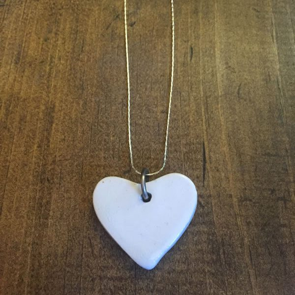 Small White Heart Necklace w/Sterling Chain